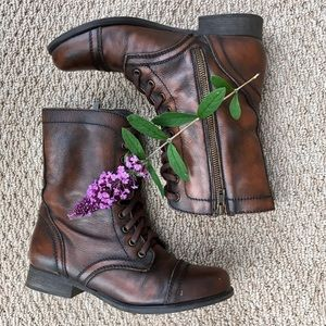 Steve Madden Distressed Brown Leather Combat Boots